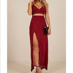 Red Two Piece Maxi Skirt / Dress Set in Red
